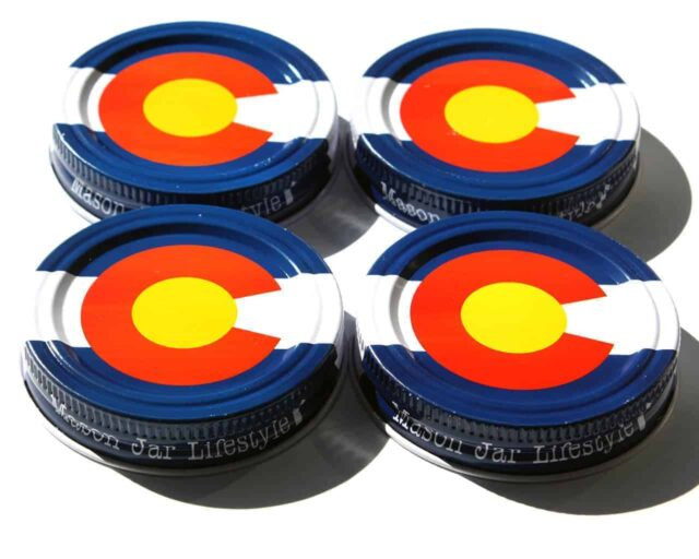 Colorado state flag storage stash jar lids for regular mouth Mason jars 4 pack
