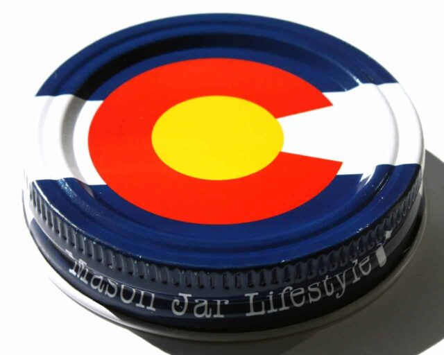 Colorado state flag storage stash jar lid for regular mouth Mason jars