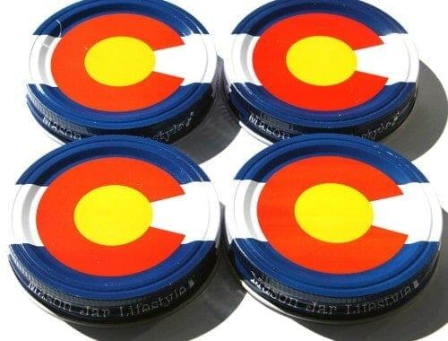 Colorado state flag storage stash jar lids for wide mouth Mason jars 4 pack