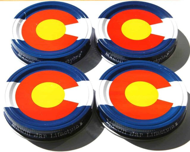 Colorado state flag storage stash jar lids for wide mouth Mason jars 4 pack