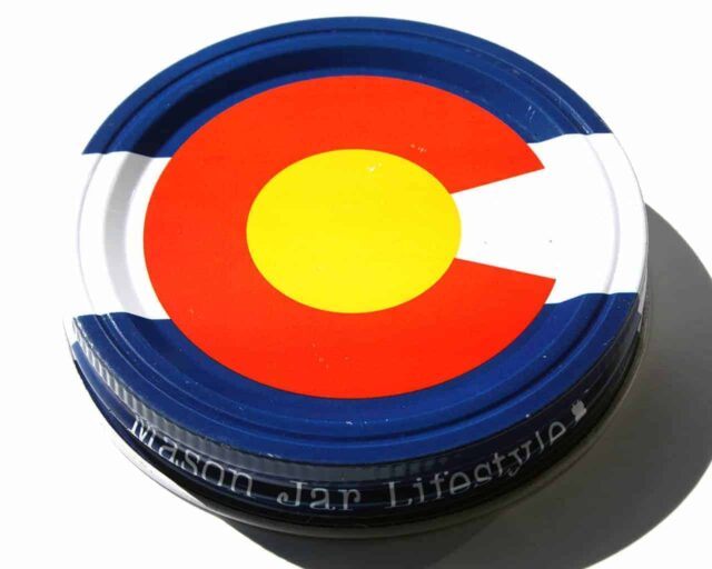 Colorado state flag storage lid for wide mouth Mason jars