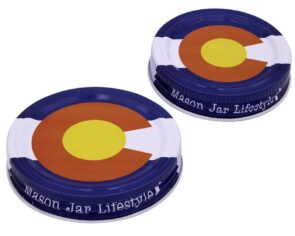 Mason Jar Lifestyle Colorado state flag storage lids for regular and wide mouth Mason jars