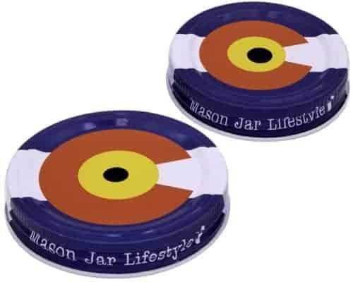 Mason Jar Lifestyle Colorado state flag straw hole tumbler lid for regular and wide mouth Mason jars