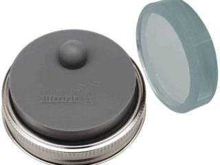 Mason Jar Lifestyle Charcoal Gray Fermentation Kit - Single sanded glass fermentation weight plus silicone valve lid for fermenting in wide mouth Mason jars