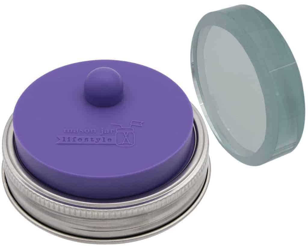 Mason Jar Lifestyle Ultra Violet Fermentation Kit - Single sanded glass fermentation weight plus silicone valve lid for fermenting in wide mouth Mason jars