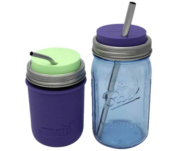 mason-jar-lifestyle-wide-mouth-quart-pint-silicone-straw-lid-long-smoothie-straw-medium-thin-bent-sleeve-ultra-violet-mint-green
