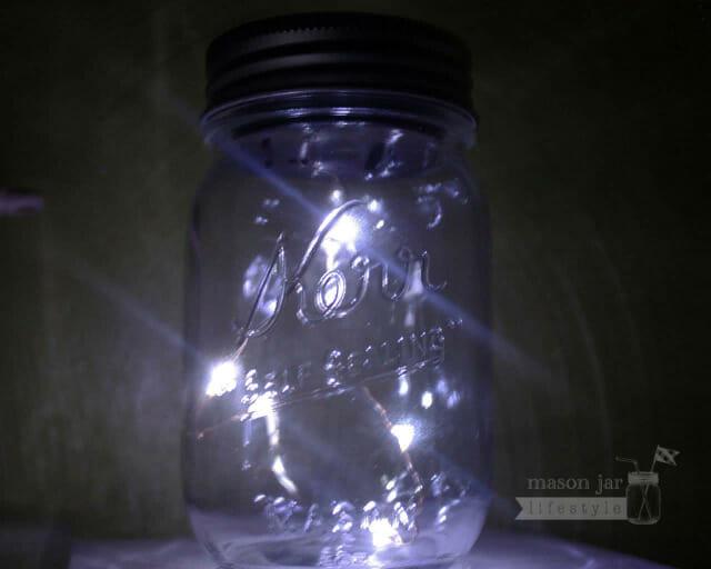 Mason jar solar light lid - Angel tears - 5 LED lights on a string