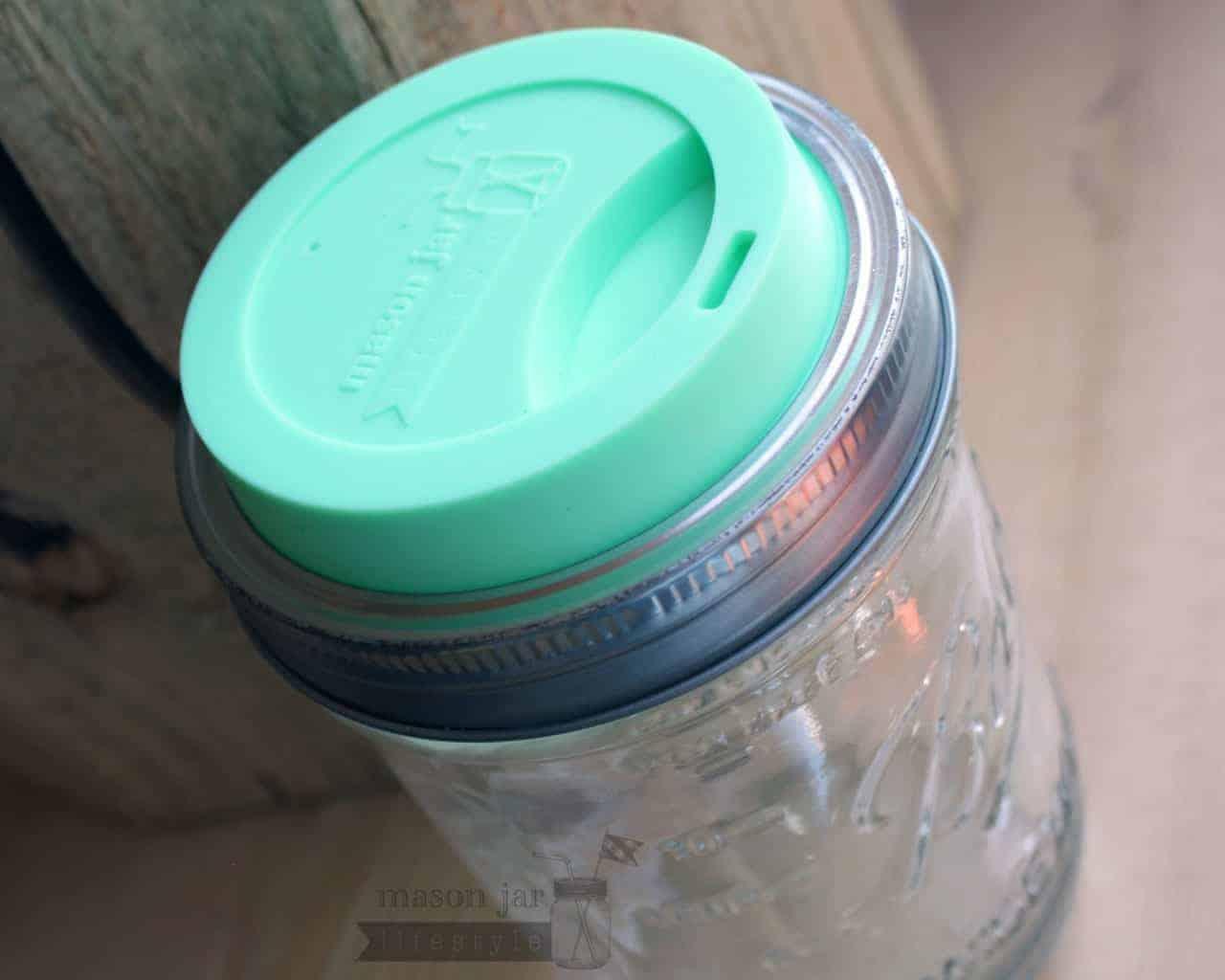 Mint Green Mason Jar Lifestyle Silicone Drinking Lid On