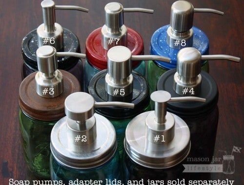 8 styles of brushed satin finish stainless steel soap pump dispensers with lid adapters on Ball jars