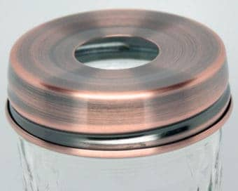 Copper electroplated 304 stainless steel soap dispenser lid adapter for regular mouth Mason jars