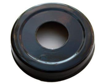 Glossy enameled black soap pump dispenser lid adapter for regular mouth Mason jars