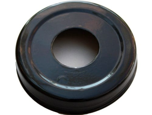 Glossy enameled black soap pump dispenser lid adapter for regular mouth Mason jars
