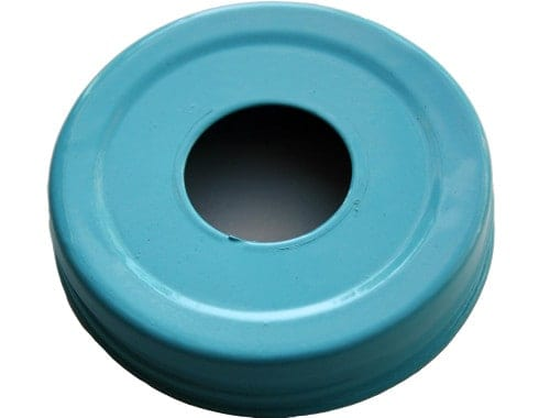 Glossy enameled blue soap pump dispenser lid adapter for regular mouth Mason jars