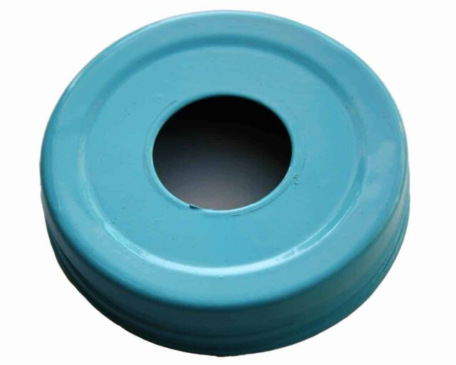 Glossy enameled blue soap pump dispenser lid adapter for regular mouth Mason jars
