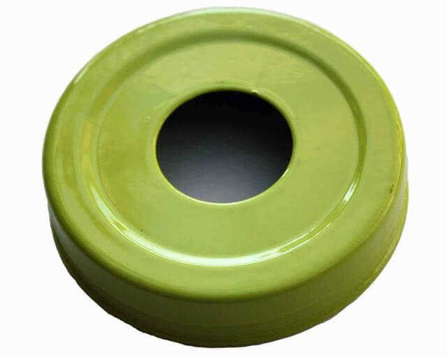 Glossy enameled green soap pump dispenser lid adapter for regular mouth Mason jars