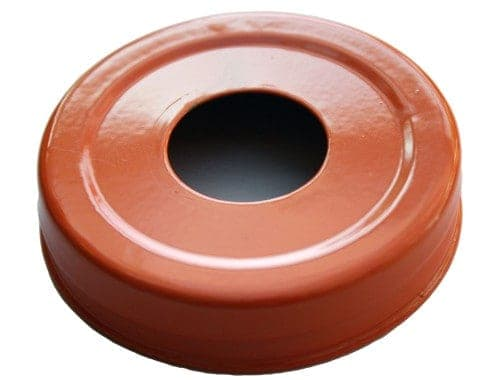 Glossy enameled orange soap pump dispenser lid adapter for regular mouth Mason jars