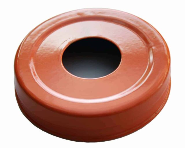 Glossy enameled orange soap pump dispenser lid adapter for regular mouth Mason jars