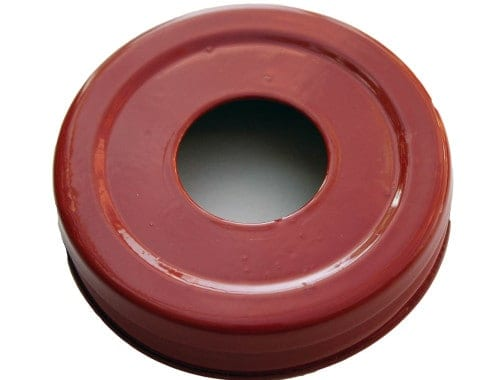 Glossy enameled red soap pump dispenser lid adapter for regular mouth Mason jars