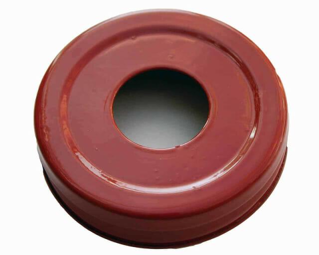 Glossy enameled red soap pump dispenser lid adapter for regular mouth Mason jars