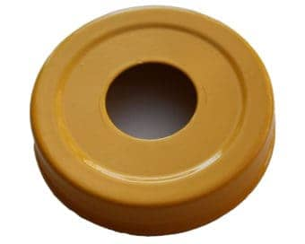 Glossy enameled yellow soap pump dispenser lid adapter for regular mouth Mason jars