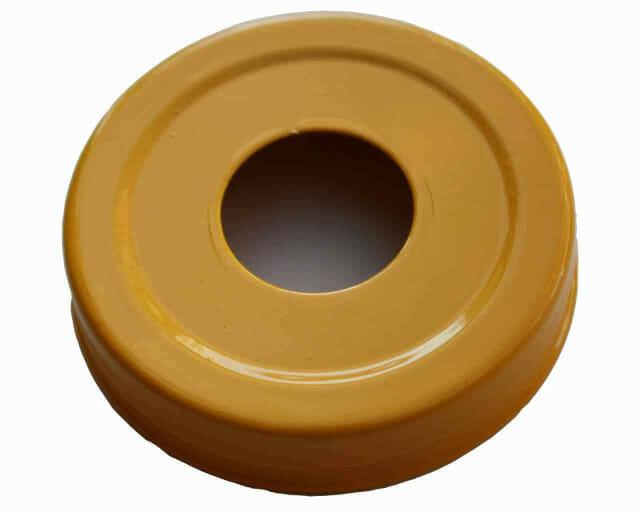 Glossy enameled yellow soap pump dispenser lid adapter for regular mouth Mason jars