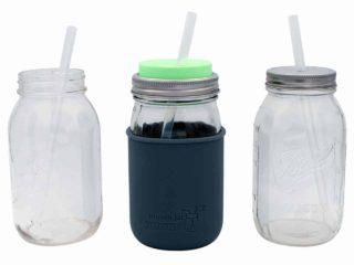 Long platinum cured silicone straws in quart 32oz Mason jars with Mason Jar Lifestyle silicone sleeve and lids