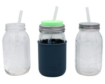 Long platinum cured silicone straws in quart 32oz Mason jars with Mason Jar Lifestyle silicone sleeve and lids