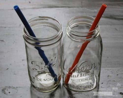 Long silicone reusable straws in Ball quart and pint & half Mason jars
