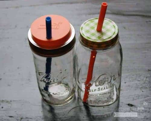 Long silicone reusable straws in Ball quart and pint & half Mason jars with lids