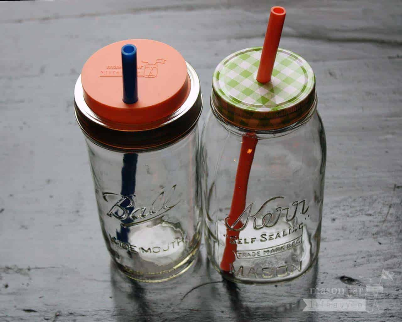 Long silicone reusable straws for quart or pint half