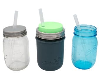 Medium platinum cured silicone straws in pint 16oz Mason jars with Mason Jar Lifestyle silicone sleeve and lids
