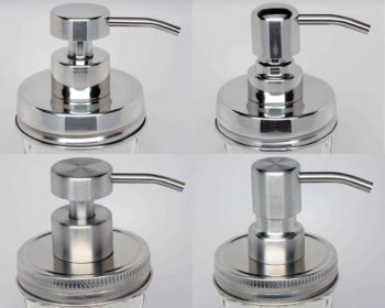 Foaming stainless steel soap pump dispensers for regular mouth Mason jars in 4 styles