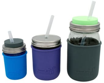 Short, medium, and long platinum cured silicone straws in half pint 8oz, pint 16oz, and quart 32oz Mason jars with Mason Jar Lifestyle silicone sleeves and lids