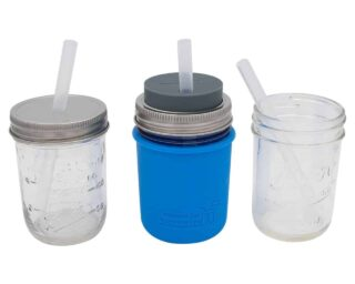 Short platinum cured silicone straws in half pint 8oz Ball and Kerr Mason jars and Mason Jar Lifestyle sleeve and lid