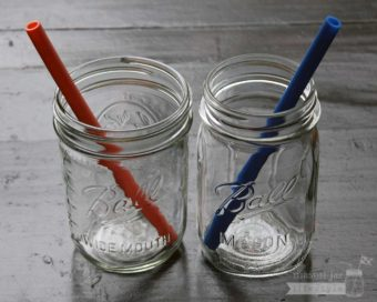 Silicone reusable straws in wide and regular mouth Ball Mason jars
