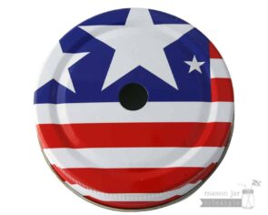 American flag straw hole tumbler lid for regular mouth Mason jars