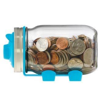 Jarware blue piggy bank for regular mouth pint jars