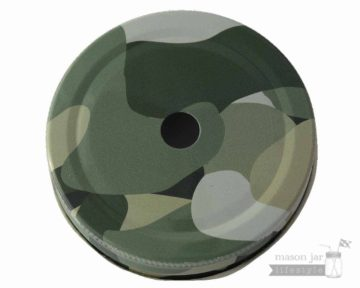Camouflage straw hole tumbler lid for regular mouth Mason jars