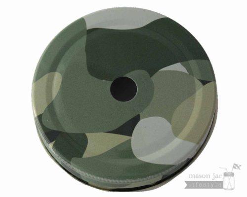 Camouflage straw hole tumbler lid for regular mouth Mason jars