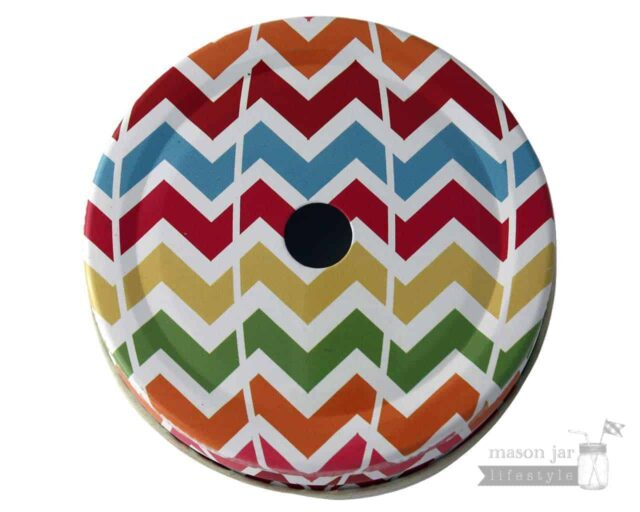 Multi color chevron straw hole tumbler lid for regular mouth Mason jars