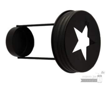 Star cutout tea light candle holder for regular mouth Mason jars