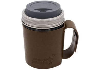 mason-jar-lifestyle-faux-leather-holder-travel-mug-handle-wide-mouth-charcoal-gray-silicone-drinking-lid-pint-16oz-ball-mason-jar