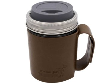 mason-jar-lifestyle-faux-leather-holder-travel-mug-handle-wide-mouth-charcoal-gray-silicone-drinking-lid-pint-16oz-ball-mason-jar
