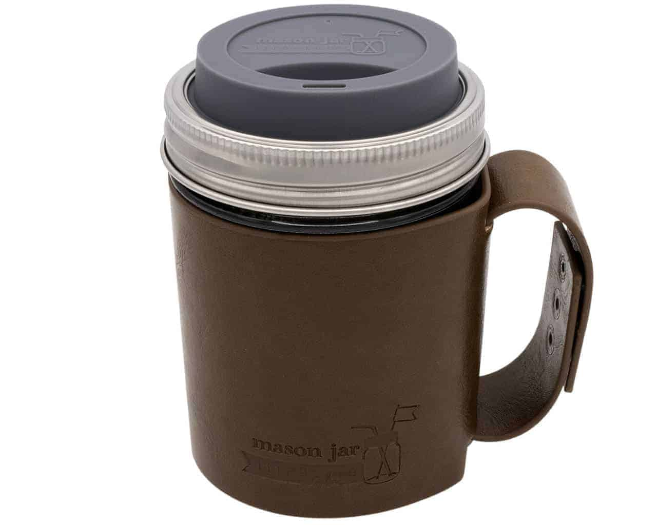 Faux Leather Travel Mug Set Mason Jar Lifestyle