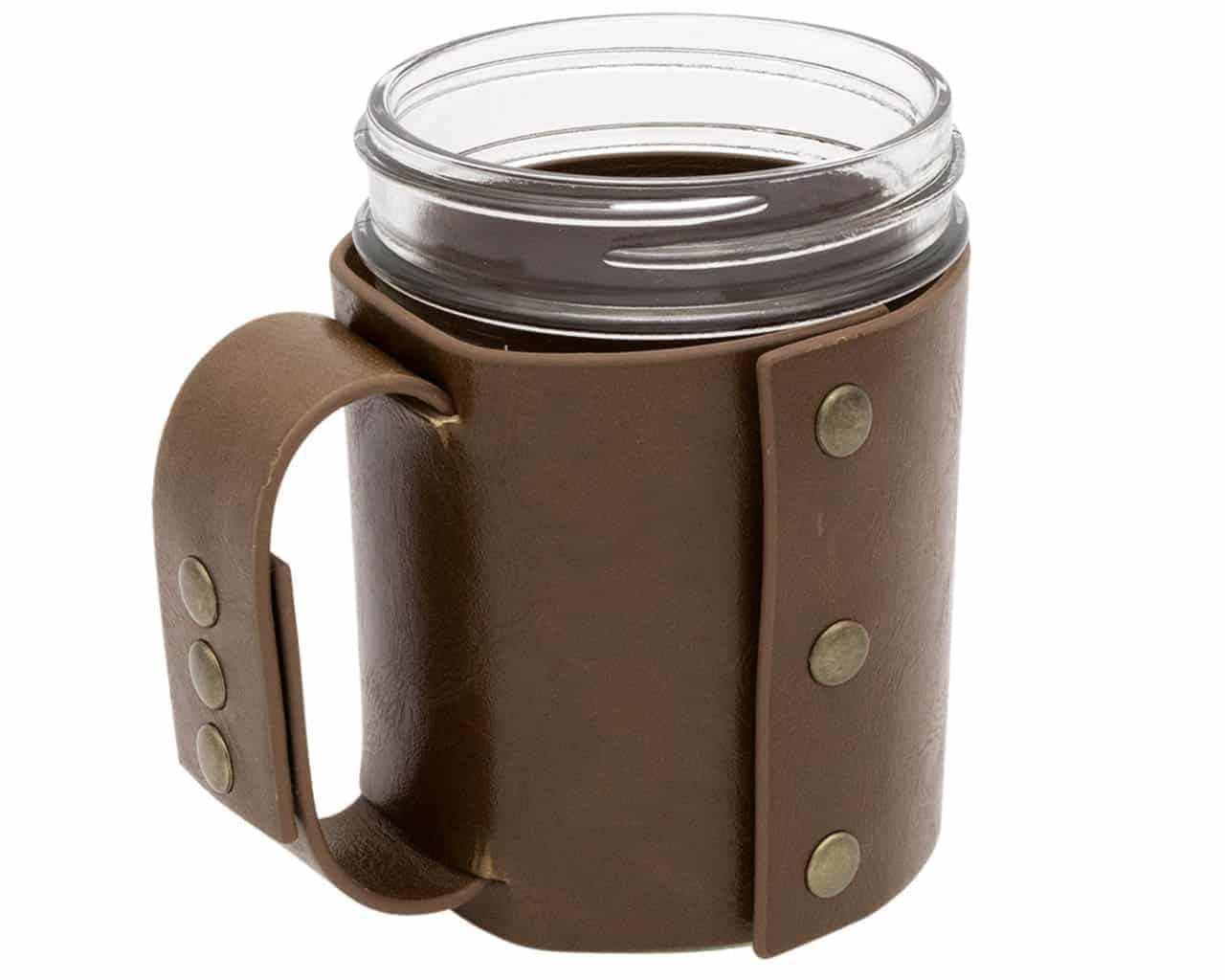 Faux Leather Sleeve With Handle Travel Mug For Mason Jars