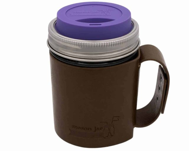 mason-jar-lifestyle-faux-leather-holder-travel-mug-handle-wide-mouth-ultra-violet-silicone-drinking-lid-pint-16oz-ball-mason-jar