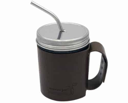 mason-jar-lifestyle-faux-leather-sleeve-medium-thin-bent-straw-stainless-steel-straw-hole-lid-wide-mouth-pint-16oz-mason-jar