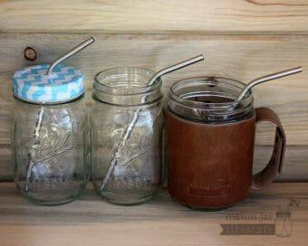 Medium thin bent stainless steel metal straws in three pint Mason jar
