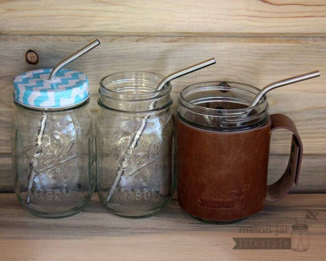 Medium thin bent stainless steel metal straws in three pint Mason jar