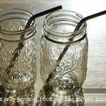 Medium thin bent stainless steel straws in 12oz jelly jar and regular mouth pint Mason jar